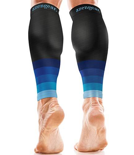 Calf Brace - Calf Sleeves for Women Men - Calf Support - Compression Calf Guards - Shin Splint Sleeve - Leg Sleeve (Pair) - Blue, S/M