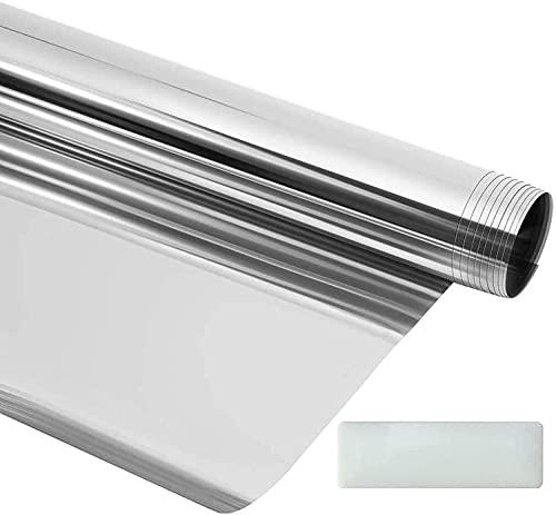 Spiegelfolie 60 x 200cm, Sonnenschutz – 99 % UV-Schutz Statische Fensterfolie, Handbuch mit Profitipps - Fensterfolie selbsthaftend Blickdicht – für Außen und Innenmontage