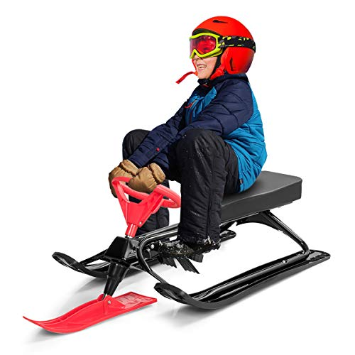 Costzon Snow Racer Sled, Ski Sled with Steering Wheel and Twin Brakes, Durable Steel Frame, Classic Downhill Steerable Sled for Kids Teenagers (Red)