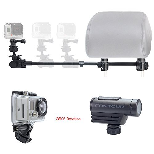 ChargerCity Dual Post Telescopic Headrest Mount for All GoPro Hero Session Sony Contour ROAM AKASO Yi 4K Action Cam Camera to Record Drifting Race Track Racing Video (Include Tripod Adapter & Wrench)