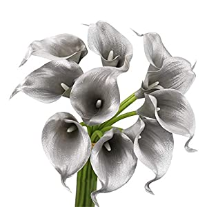 Angel Isabella, LLC Lifelike Artificial Flowers Real Touch Calla Lily Bouquet Bundle 10 Stems (Metallic Silver)