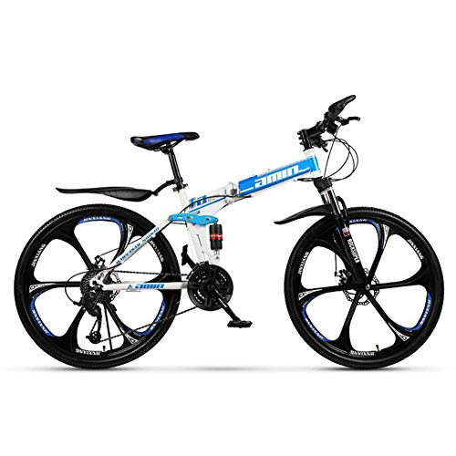 Unbekannt Berg Faltrad, 26 Zoll, Mountainbike, 24-Gang Getriebe, Doppelaufhebung, Kinder Fahrrad, Jungen Und Mädchen Fahrrad,Blau