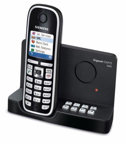 Siemens Gigaset CX475 schnurloses ISDN-Telefon mit Farbdisplay und integriertem digitalen Anrufbeantworter, pianoschwarz