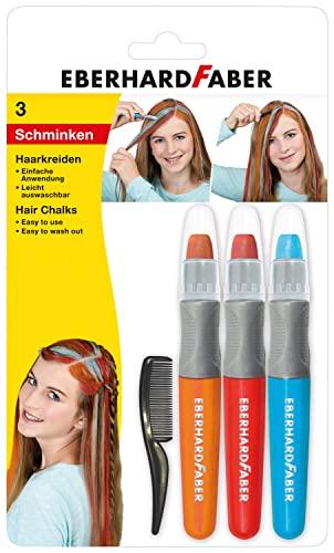 Eberhard Faber 579201 - Haarkreide Basic, Set mit 3 Farben und Haarkamm, einfache Anwendung, leicht abwaschbar, für trendige Frisuren und neue Haarfarben