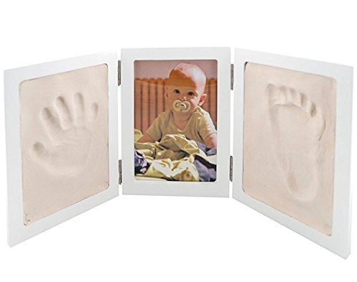 alles-meine.de GmbH Bastelset - Händeabdruck + Fußabdruck - mit Fotorahmen - für Kinder & Erwachsene - Rahmen Abdruck - Kind Kinder Form - Gipsformen Gips gießen Gips - Babyabdru..