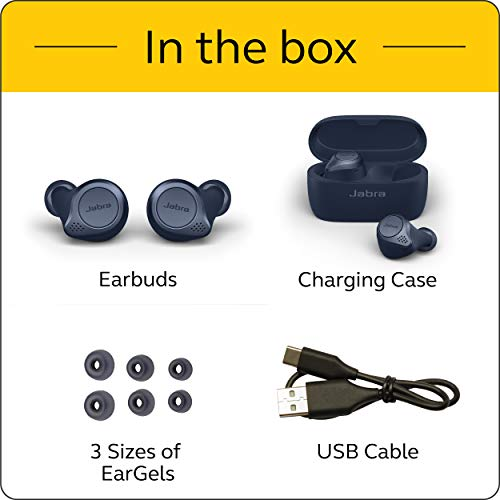 Jabra Elite Active 75t True Wireless Bluetooth Earbuds, Navy – Wireless Earbuds for Running a   nd Sport, Charging Case Included, 4th Generation, 28 Hour Battery, Sport Earbuds