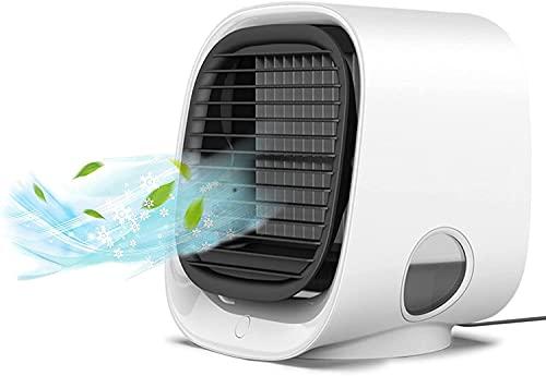 Mini Aire Acondicionado, Fondiary Climatizador Portatil Frio 3 en 1 Refrigerado Por Agua de 3 Velocidades Ventilador Aire Frio Enfriador de Aire Para el Hogar y la Oficina
