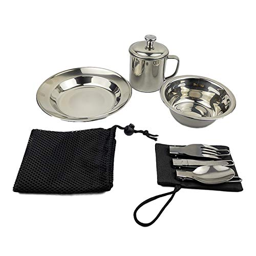 7 Pieces Camping Messware Kit Stainless Steel Utensils Tableware Deluxe Unique and Complete Plates Bowls Mugs Utensil Forks Knifes Set for Traveling Backpacking Hicking
