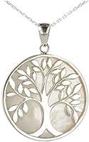 Cadeau bijoux symbole Arbre de vie Pendentif Nacre blanche Argent rhodié rond femme
