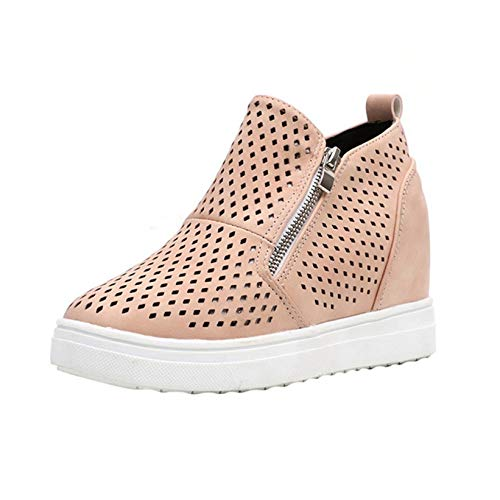 Zapatos Gruesos de Mujer con Cremallera Casual conciso Primavera Verano Zapatillas de Deporte al Aire Libre Tacón Alto Oculto Zapatos de Punta Alta