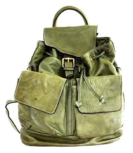 BZNA Bag Jack groene backpacker designer rugzak dameshandtas schoudertas leer nappa sheep ItalyNieuw
