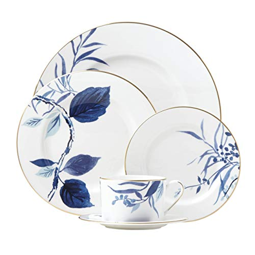 KATE SPADE 871053 Birch Way Indigo 5-piece Place Setting, 4.4 LB, White
