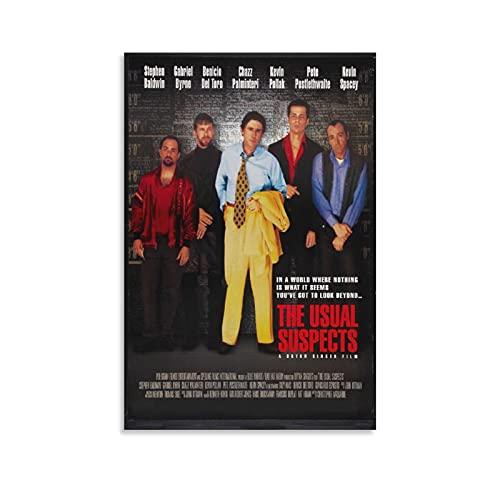 Póster de The Usual Suspects 1 póster de película Thriller Misterio Pintura decorativa para la pared de la habitación, marco estético sin marco de 50 x 75 cm
