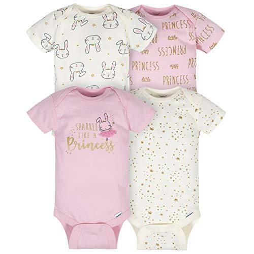 Gerber Baby 4-Pack Short Sleeve Onesies Bodysuits, Princess/Sparkle Pink, 0-3 Months