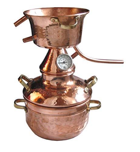 Alquitara aus Kupfer 2 Liter mit Thermometer - Destille ätherische Öle - 2L (anmeldefrei)