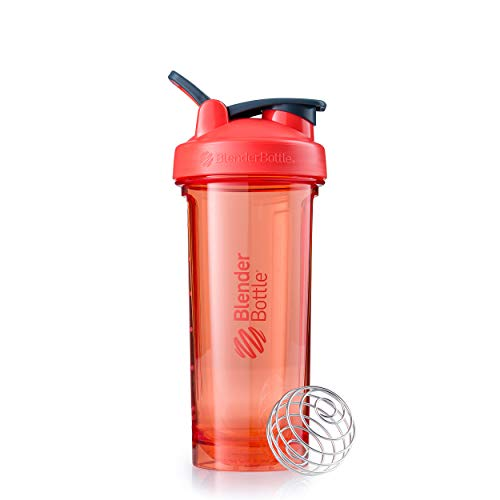 BlenderBottle Shaker Bottle Pro Series Perfect for Protein Shakes and Pre Workout, 28-Ounce, Coral