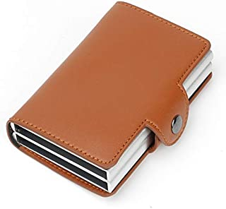 Sum-of-Best Genuine Leather aluminium RFID Credit Card Holder Automatic Pop up Wallet Metal Card Case for Men and Women Up to Holds 14 cards+ Cash (Brown)