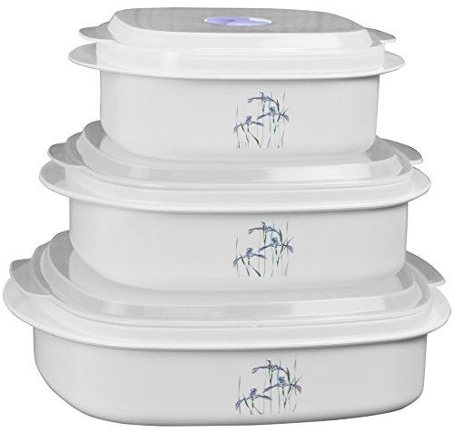 Reston Lloyd 6-Piece Microwave Cookware, Steamer, Storage Set Corelle Coordinates, White