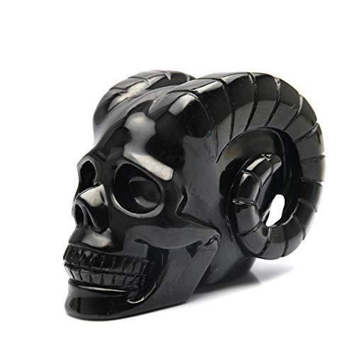 XICI 1000g Natural Black Obsidian Horn Devil Skull Figurine Hand-Carved Quartz Crystal Skull Healing Crystal Home Crafts