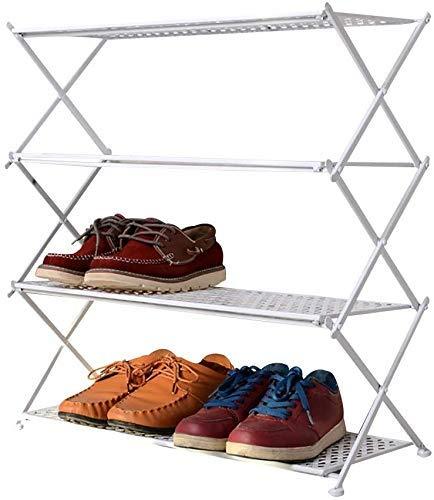 WXJLYZRCXK Zapateros con 4 Estantes, Zapatero de Metal para 10 Pares de Zapatos, Blanco