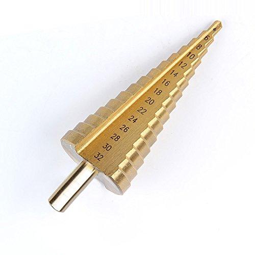 Zology Brocas de Cono Escalonado Fijadas para Taladros Manuales y Taladros de Banco Cortador de Orificios Recubierto de Titanio Tamaño 4mm-32mm