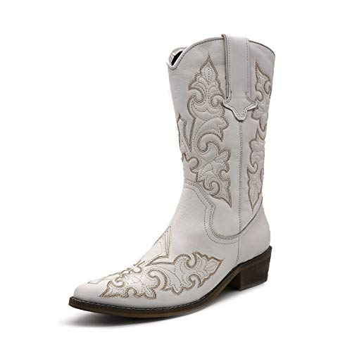 Cowboystiefel für Frauen Leder Western Cowgirl Schuhe Weiß Größe: 41 EU