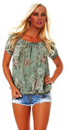 ZARMEXX Damen Bluse Oberteil Shirt Blumenmuster Carmenbluse Kurzarmshirt Viskose *BIG ROSE*, One Size Gr.36-40, Armee