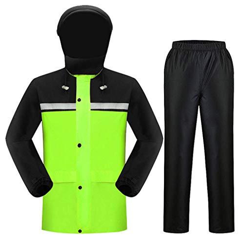 LWY Raincoat waterdichte jas met capuchon voor mannen – waterdicht en ademend – set van jas en werkbroek buitenshuis, dubbele dikte