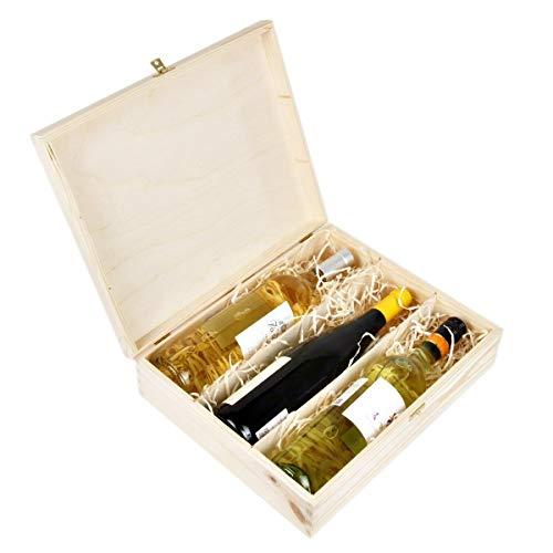Amazinggirl Cassetta in Legno - scatole per Bottiglie Legno Vino vuote Scatola Cassette Vino Confezione Regalo per 3 Bottiglie