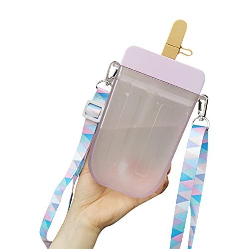 Xzbling Plastic waterfles, 300 ml zoete strobeker, draagbare waterfles in ijs op een steel, transparante sapdrinkbeker…