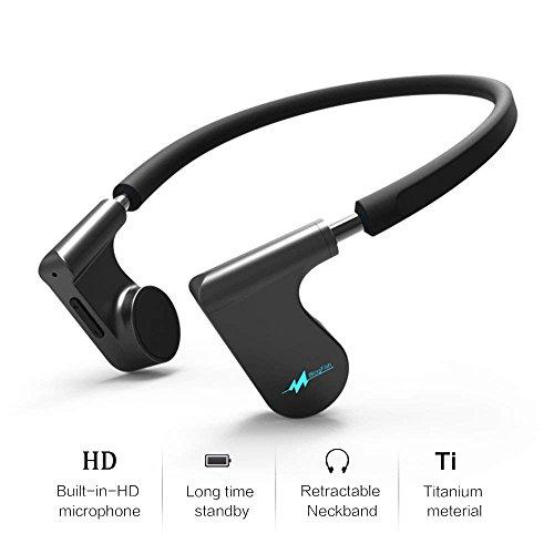 Vijfde generatie beengeleiding Bluetooth-headset - IPX5 waterdichte oortelefoon met ingebouwde HD-microfoon - Gemaakt van titanium en antislip - Ideaal voor sport