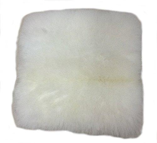 Alpacaandmore Natur weißer Alpaka Fellkissen Bezug Kopfkissenbezug 40 x 40 cm Rückseite Stoff mit Reißverschluss