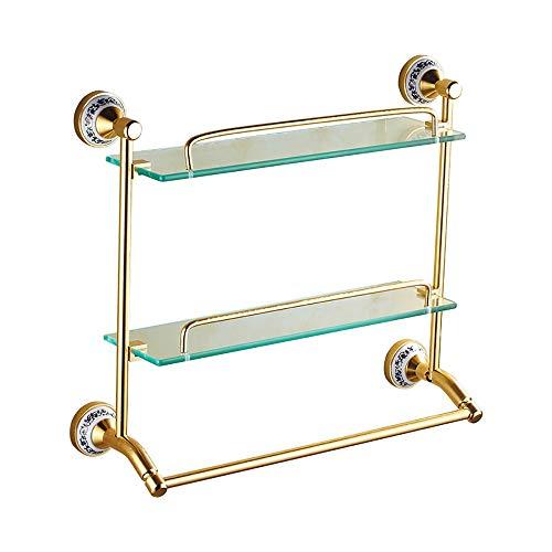 Bradoner Moderno Doble Capa de Oro + Varilla Simple Vidrio Redondo Redondeado + Taladro eléctrico Perforado baño hogar Hotel Estante/Estante