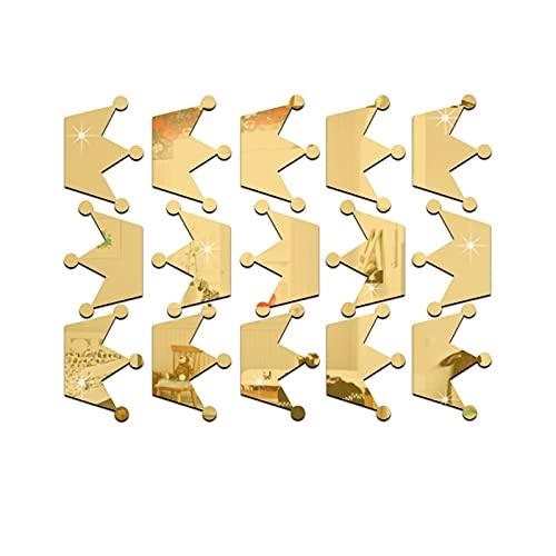 ABCABC Etiqueta de Espejo Pegatina de Oro Plata 3D Moderna Crown Crown Acrílico Sala de Estar Cuarto de baño Decoración del hogar Pintura (Color : Gold)