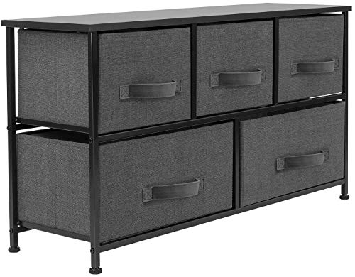 Sorbus Dresser with 5 Drawers - Furniture Storage Chest Tower Unit for Bedroom, Hallway, Closet, Office Organization - Steel Frame, Wood Top, Easy Pull Fabric Bins (Black/Charcoal)