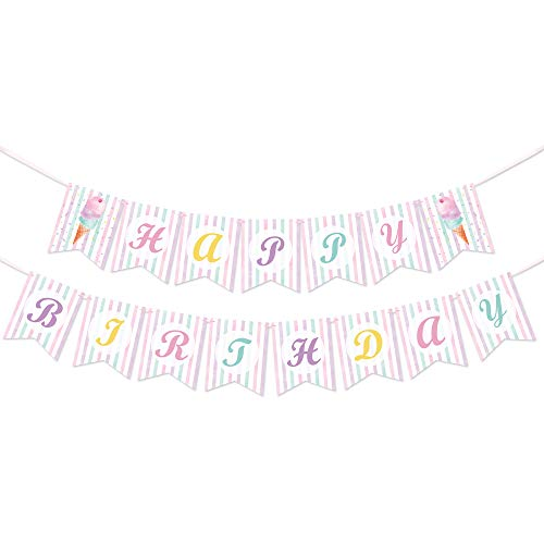 WERNNSAI Ice Cream Birthday Banner - Ice Cream Theme Party Decorations for Girls Summer Pool Beach Party Happy Birthday Party Garland Bunting with Colorful Background