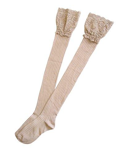 JHosiery Damen Halterlose Baumwollstrümpfe mit Spitze (Tan)