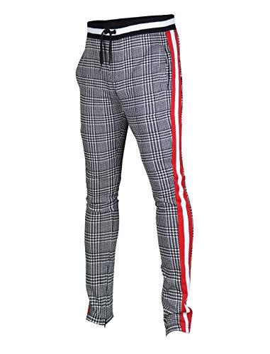 SCREENSHOTBRAND-P11957 Mens Hip Hop Premium Slim Fit Track Pants - Athletic Jogger Checker Pattern Color Block Print Bottoms-Black/Pattern-Large