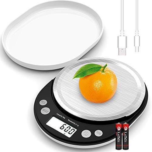 Digital Food Scale, 6.6LB Kitchen Scale with USB Charging Cable Readability 0.1G 0.003 OZ, Food Scales Digital Weight Gram and OZ Cooking Scale with Protective Cover Tray (Not Rechargeable Battery)