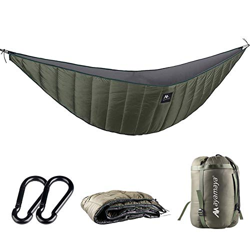 ayamaya Ultralight Hammock Underquilt for Camping Backpacking, 3 Season Under Quilt UQ for Single Person Hammock Warm Under Blanket Sleeping Bag Bottom Insulation - Hammock Camping Gear (Army Green)