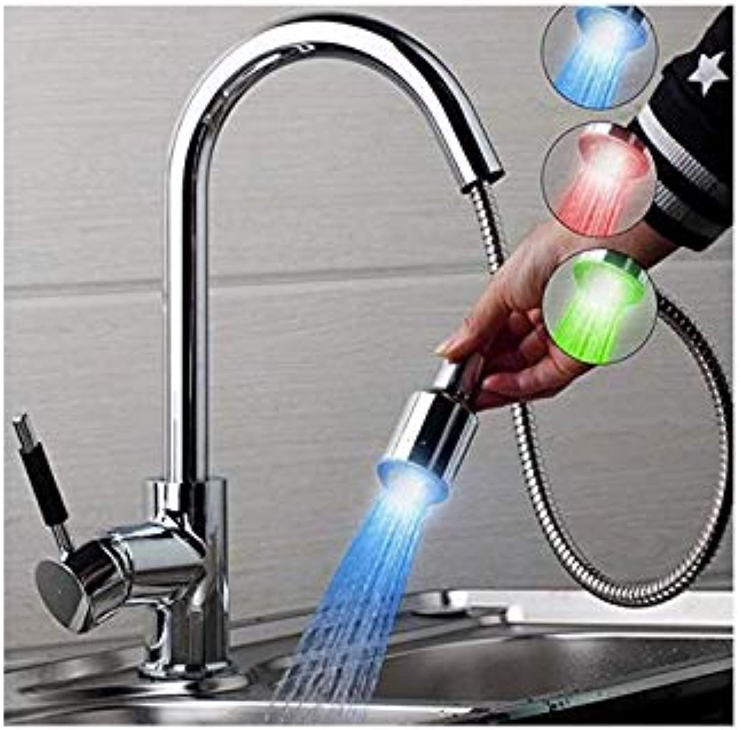 All Copper Hot and Cold Kitchen Suction Faucet Led Light Emitting Lamp Wash Vegetable Basin Flume Faucet Single Hole