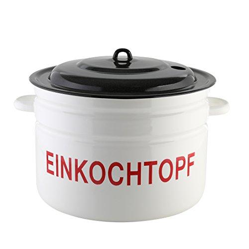 axentia Einkochtopf, Einkocher emailliert, Glühweintopf geeignet für alle Herdarten, Glühweinkocher mit Deckel, Glühweintopf mit einem Fassungsvermögen von ca. 28 Liter, Multitopf mit Öffnung für ein Einkochthermometer