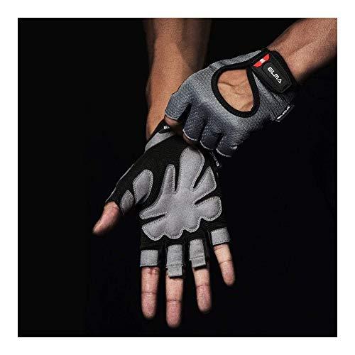 MHYNLMW Frühling und Herbst-Halbfingerhandschuhe Fitness Handschuhe Sport Männer und Frauen rutschen Halbfingerhandschuhe Hantel Krafttraining Ausrüstung Handschuhe Spinnen (Color : Grey, Size : S)