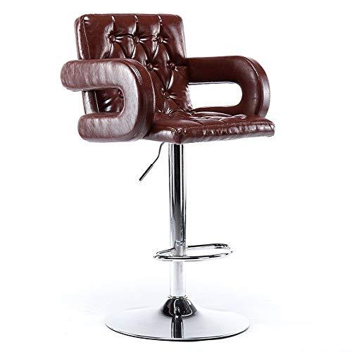 JISHIYU-Q - Taburetes de barra retro de piel sintética, taburetes giratorios para cocina con respaldo y reposapiés (marrón) - Sillas de escritorio (tamaño: 1 unidad)