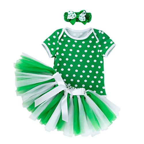 AIKSSOO Baby Meisje Outfits St. Patrick's Day Kostuum Groen Korte Mouw Romper Tutu Rok Hoofdband