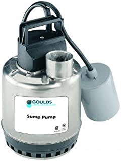 GOULDS Pumps LSP0311AT Submersible Sump Pump, Piggy Back Wide Angle Float Switch, 1/3 hp, 115V, Silver