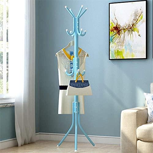 Perchero metálico de pie, colgador de ropa (Azul)