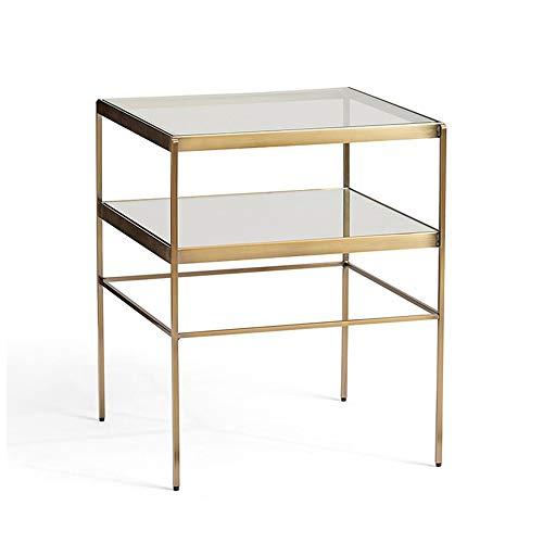 Table HAIZHEN - Poste de Travail pour Ordinateur - Canapé d'angle - en Fer forgé - Verre trempé de Chevet