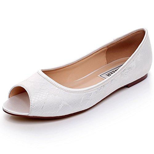 LUXVEER Ivory Wedding Flats,Peep Toe Bridal Shoes Flats,RS-9803-Ivory-Peep-Toe-EU37