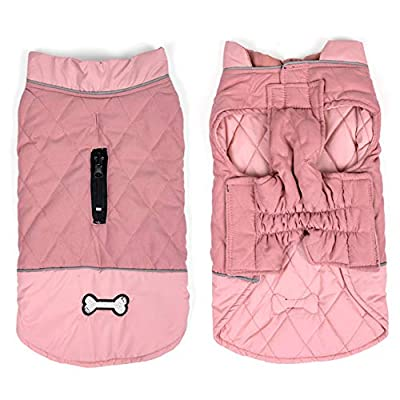 Idepet Waterproof Dog Coat Winter Warm Jacket Vest,Windproof Snowsuit Dog Clothes Outfit Vest Pets Apparel for Small Medium Large Dogs with Harness Hole pink L